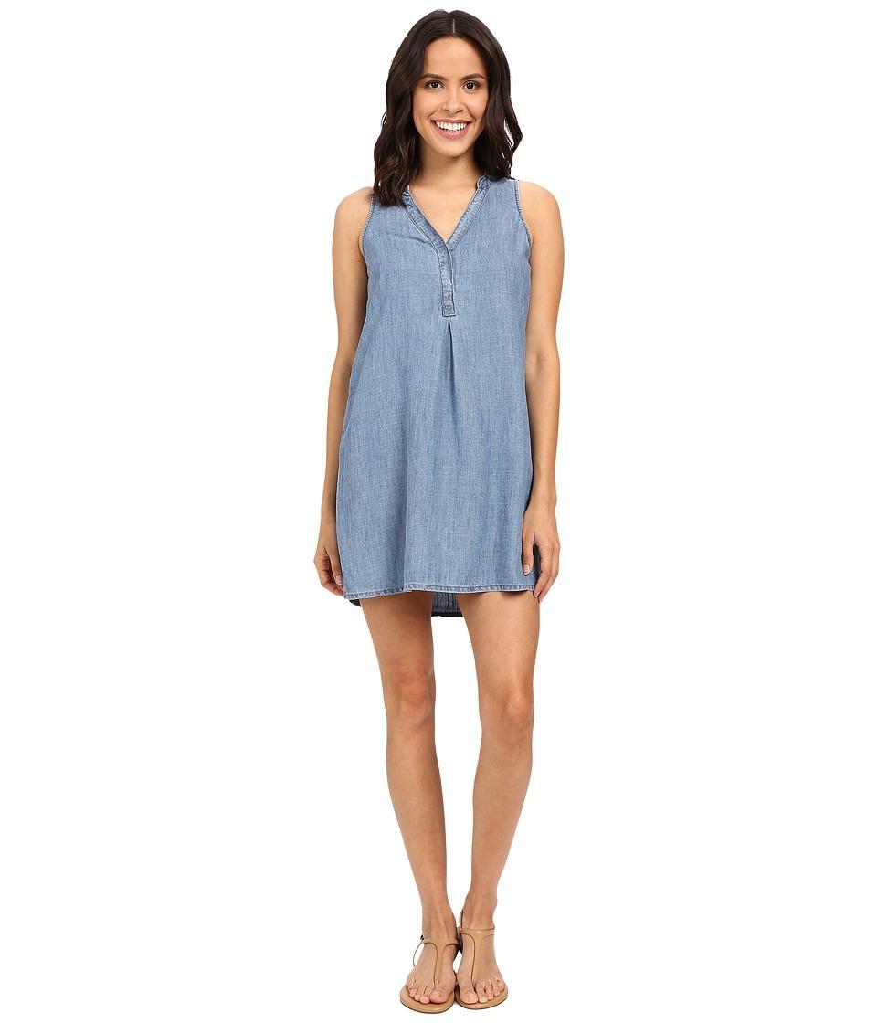Michael Stars Linen Denim Tencel Henley Dress (Medium Wash) Women