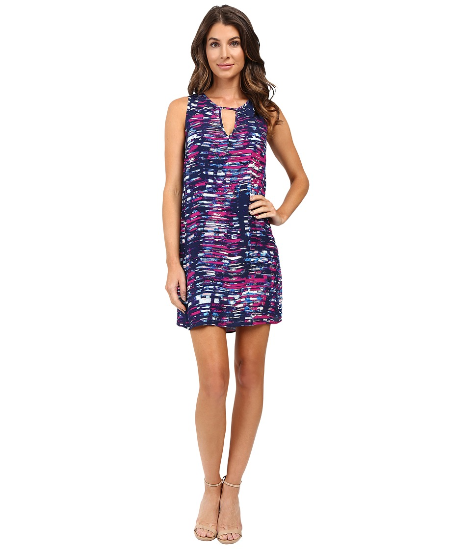 Michael Stars City Lights Print Tank Dress w/ Keyhole (Bougainvillea) Women