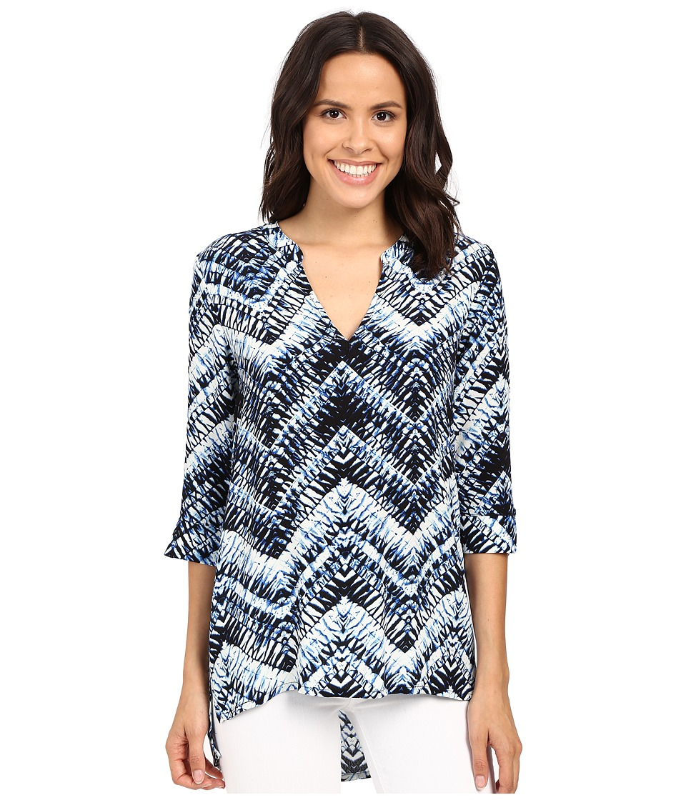 Michael Stars Azure Print Split-Neck Hi Low Tunic (Nocturnal) Women's Blouse