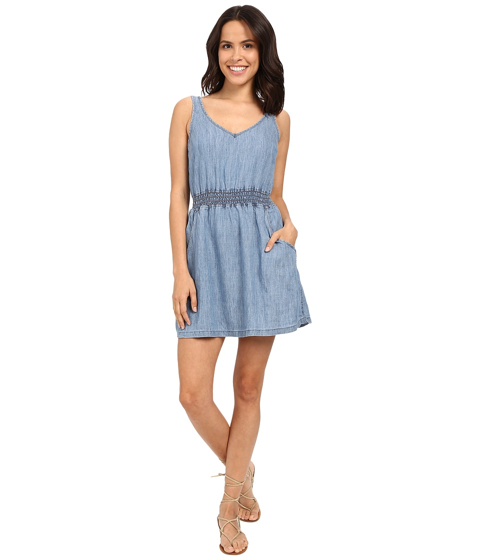 Michael Stars Linen Denim Tencel Open Back Dress (Medium Wash) Women
