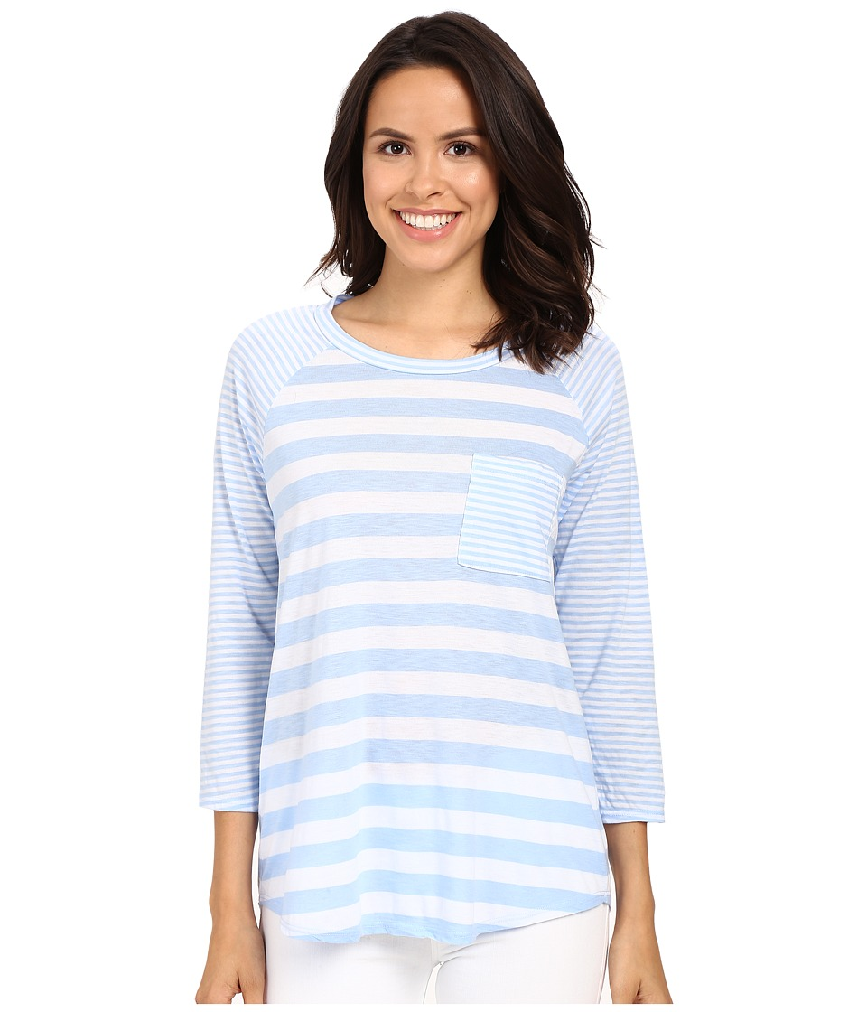 Michael Stars Mixed Stripe Raglan Pocket Tee (Water) Women