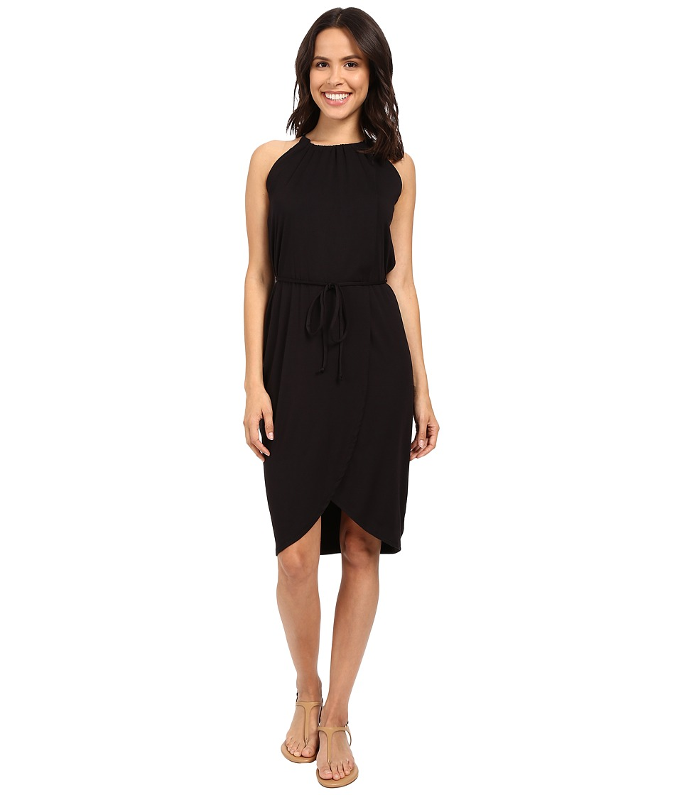 Michael Stars Wrap Front Halter Dress (Black) Women