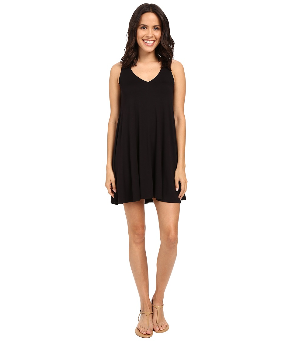 Michael Stars Vee Neck Tank Dress (Black) Women