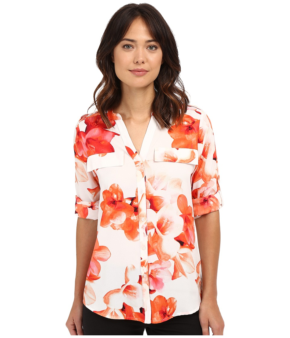 Calvin Klein - Printed Roll Sleeve (Porcelain Rose/Soft White Multi) Women's Blouse
