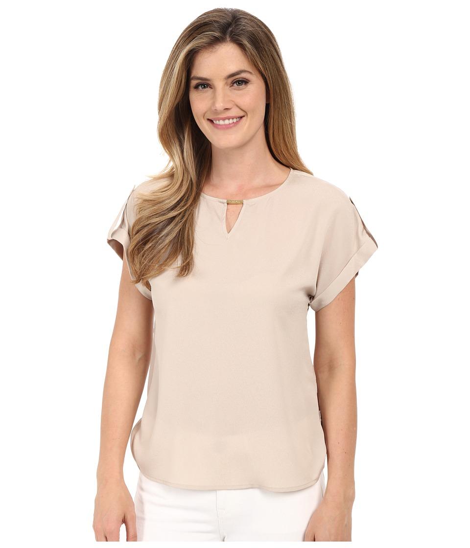 Calvin Klein - Short Sleeve Top w/ Hardware (Latte) Women's Blouse