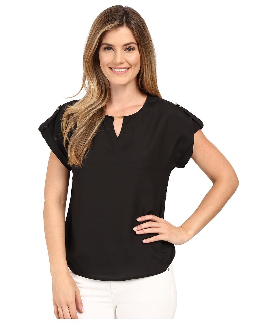 Calvin Klein - Short Sleeve Top w/ Hardware (Black) Women's Blouse
