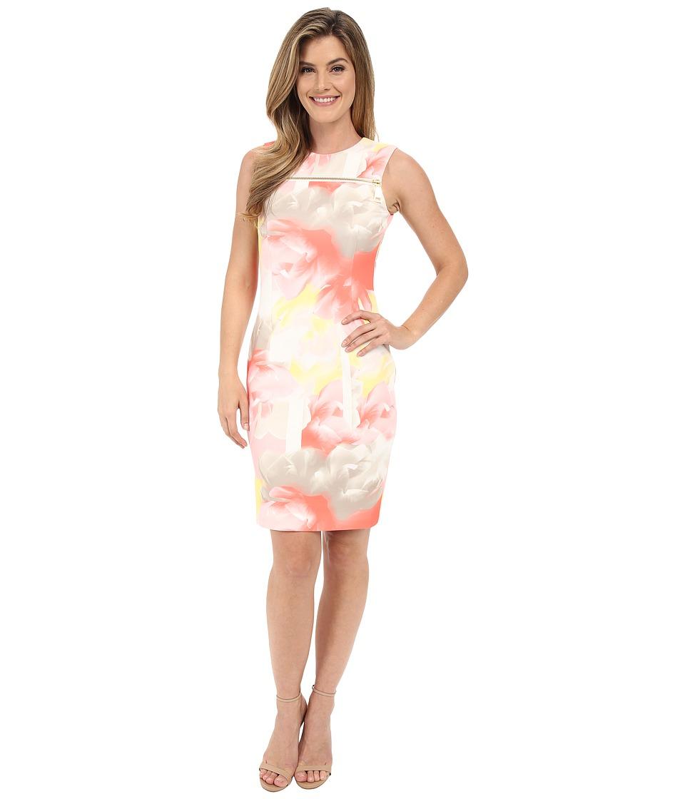 Calvin Klein - Dress w/ Zip at Yoke (Latte/Koi) Women's Dress