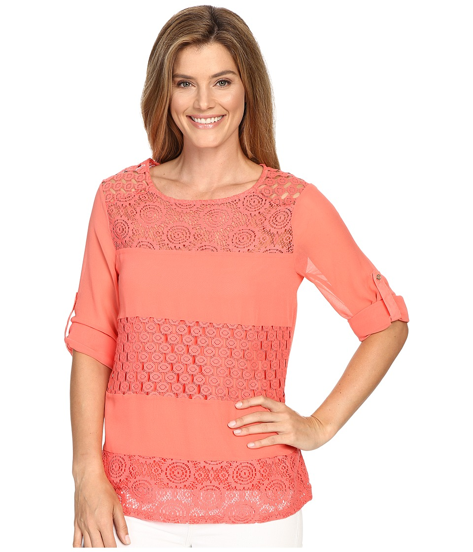 Calvin Klein - Mixed Lace Roll Sleeve (Porcelain Rose) Women's Blouse