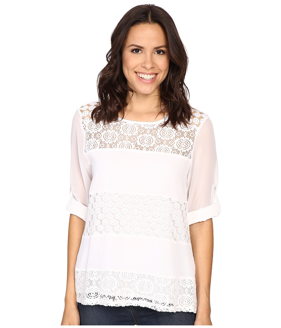 Calvin Klein - Mixed Lace Roll Sleeve (Soft White) Women's Blouse