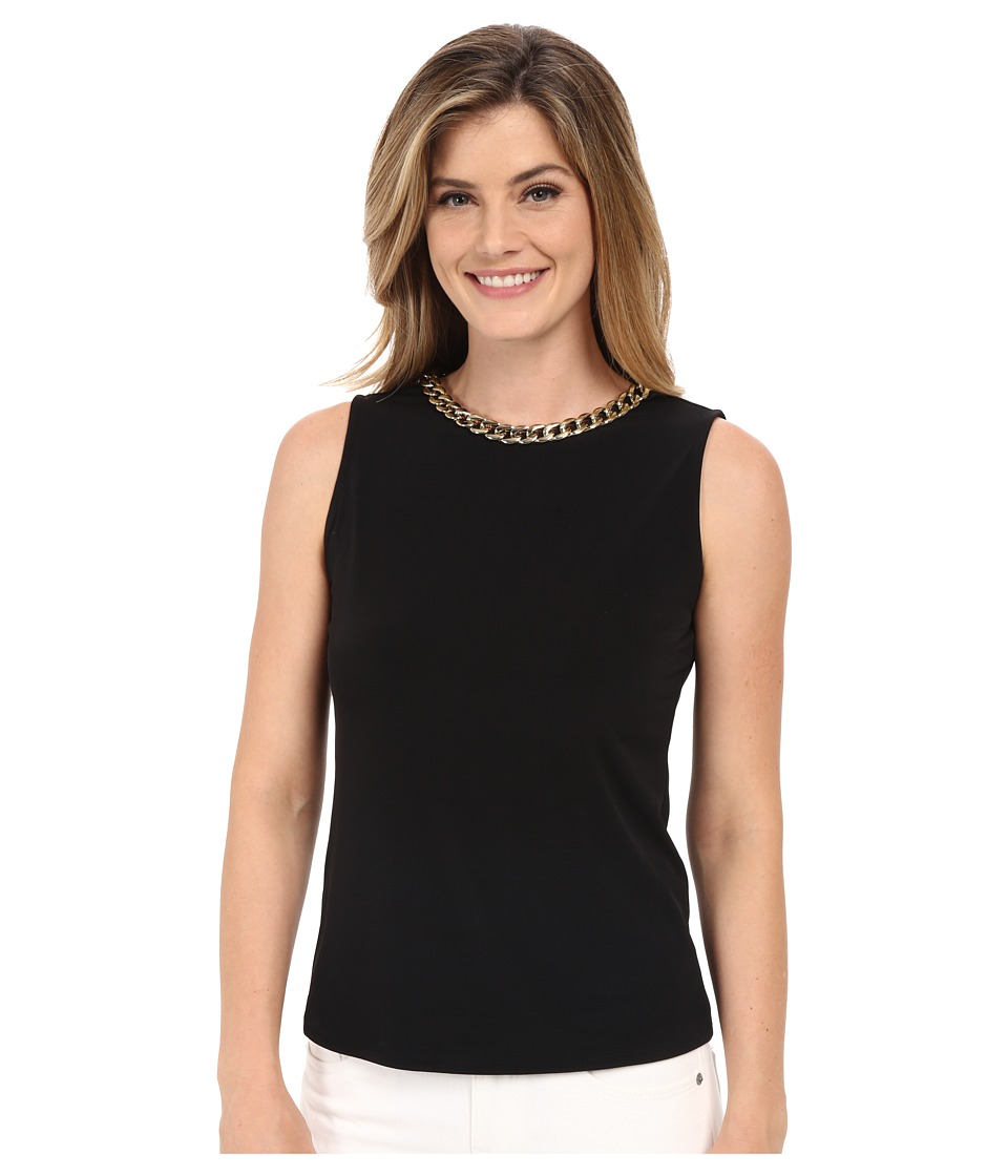 Calvin Klein - Sleeveless Top w/ Braided Chain (Black) Women's Sleeveless