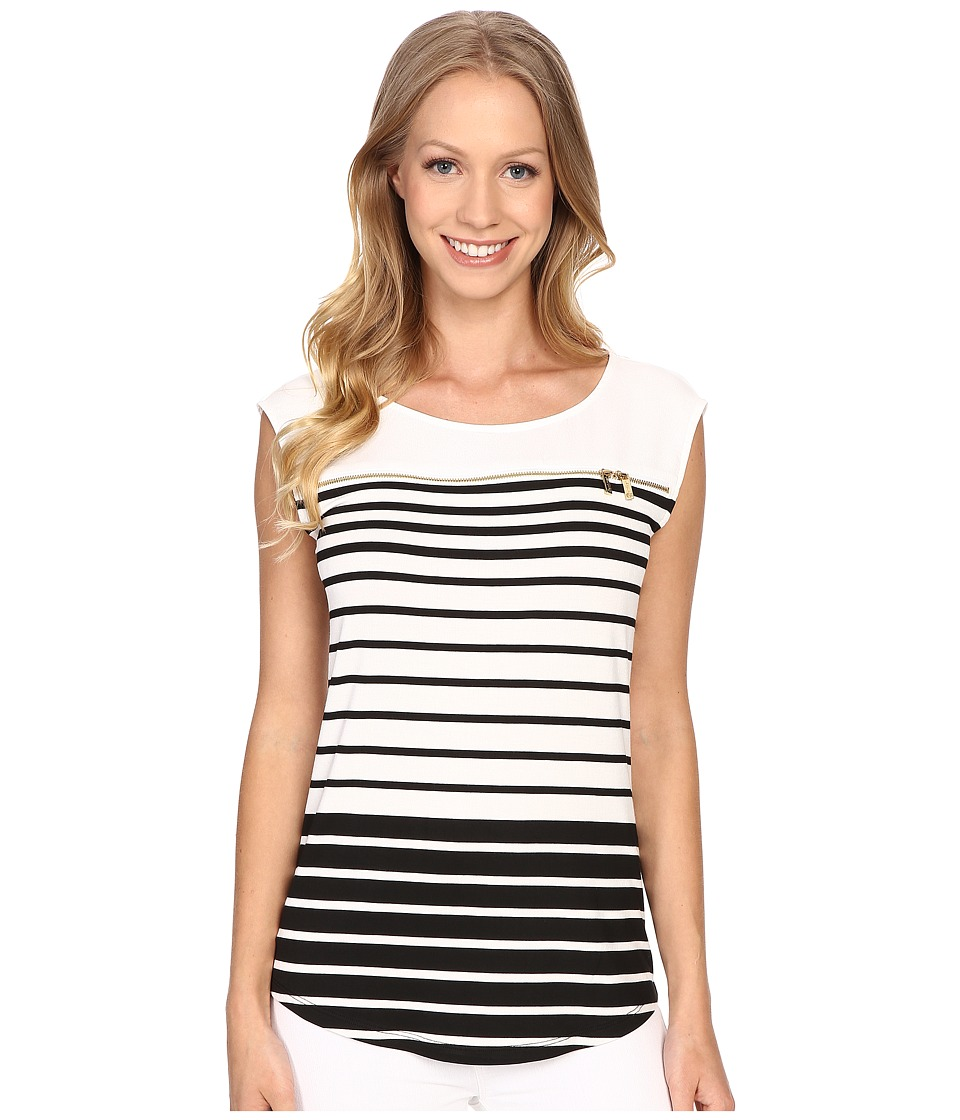 Calvin Klein - Varigated Stripe Shell (Black/White/Black) Women's Sleeveless