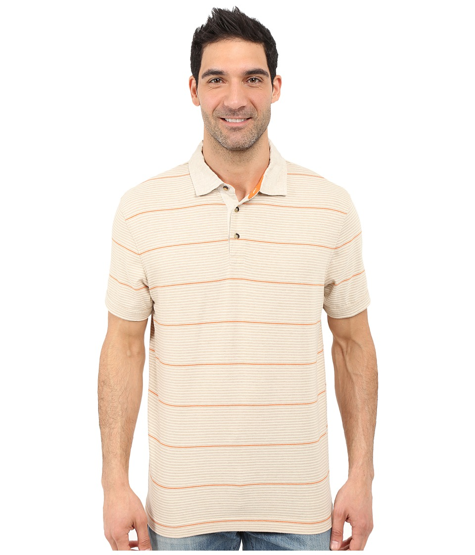 Nautica - Short Sleeve Yarn-Dyed Polo Linen Collar (Sand Cove) Men's Short Sleeve Pullover