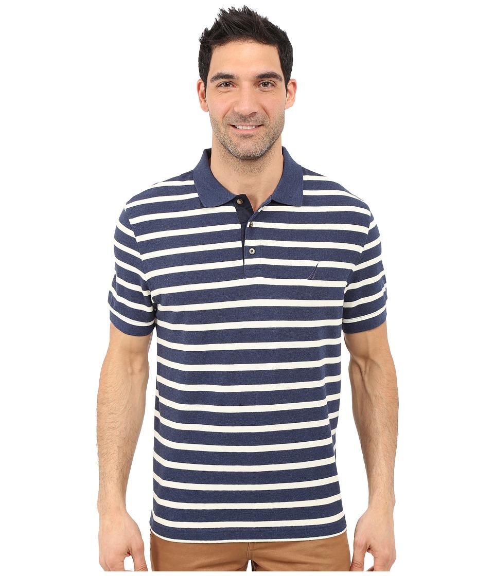 Nautica - Short Sleeve Yarn-Dyed Polo (Ocean Indigo Heather) Men's Short Sleeve Pullover