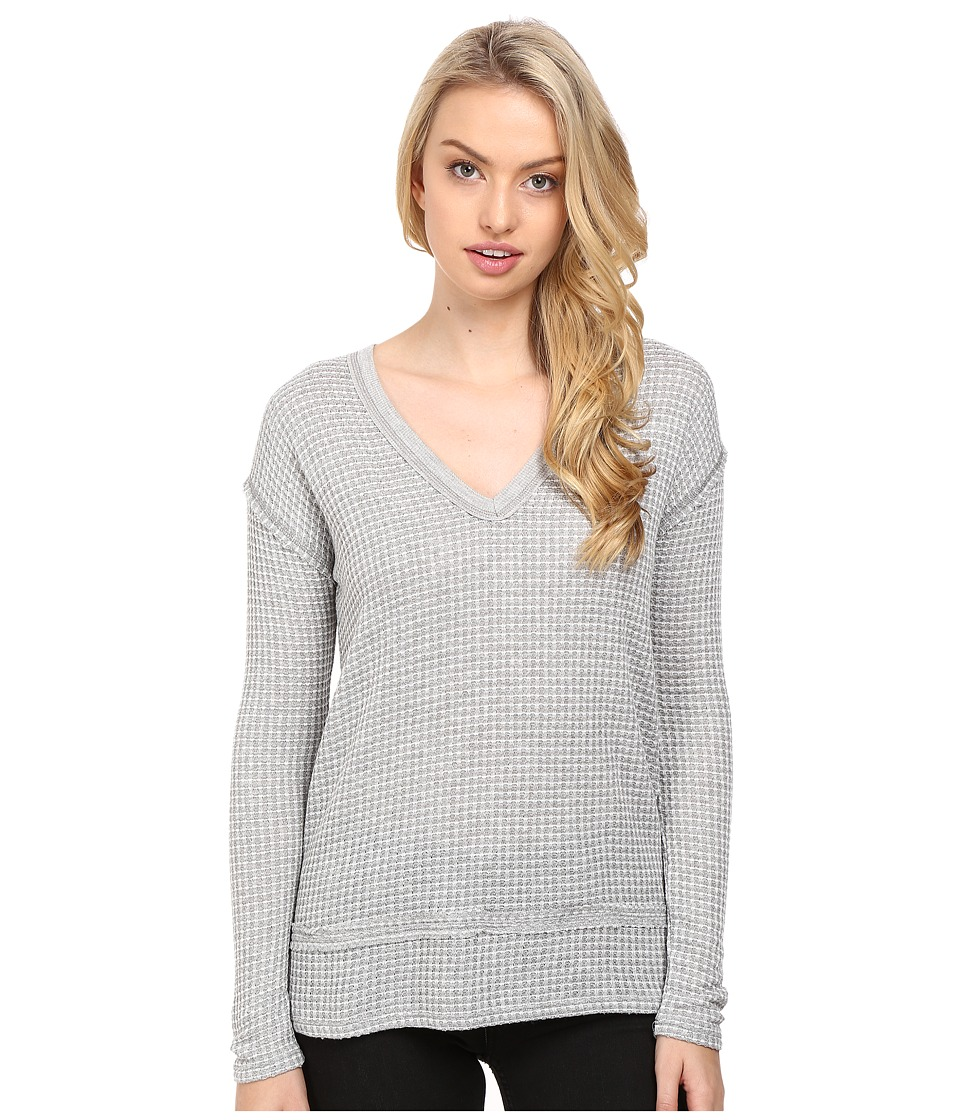 LAmade - Gio V-Neck (Heather Grey/White) Women's Long Sleeve Pullover