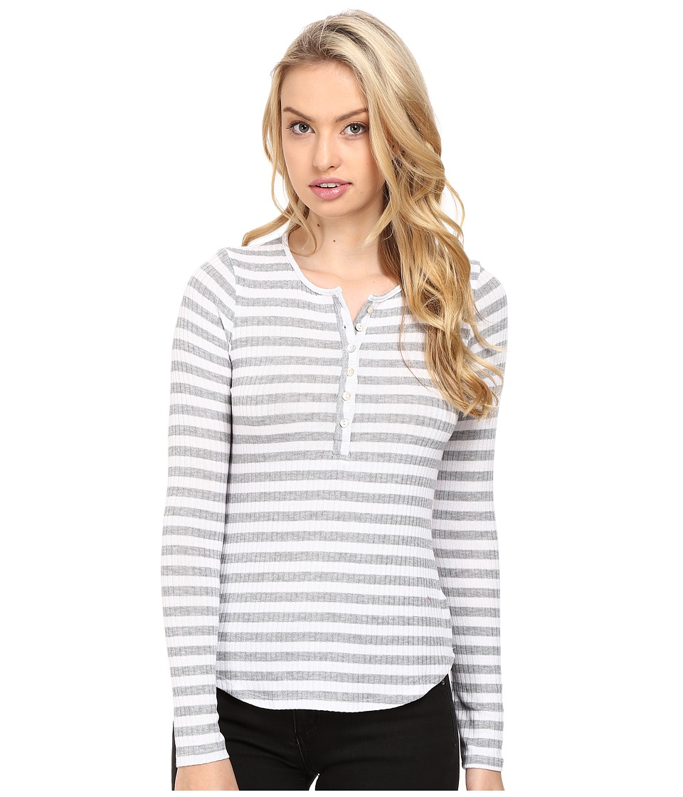 LAmade - Lou Henley Top (White/Heather Grey) Women's Long Sleeve Pullover