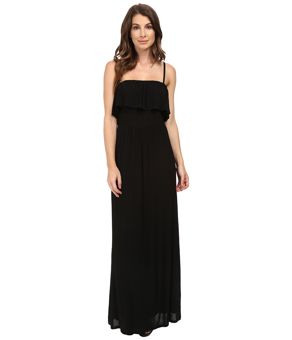 Splendid Drapey Lux Ruffle Maxi Dress (Black) Women