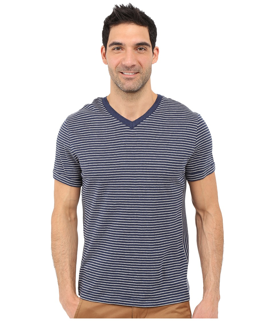 Nautica - Short Sleeve Stripe Block V-Neck (Ocean Indigo Heather) Men's Short Sleeve Pullover