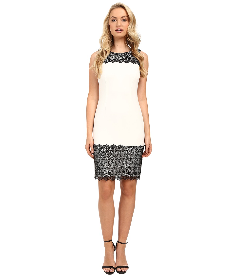 Calvin Klein Sheath with Lace Detail Soft White Dress