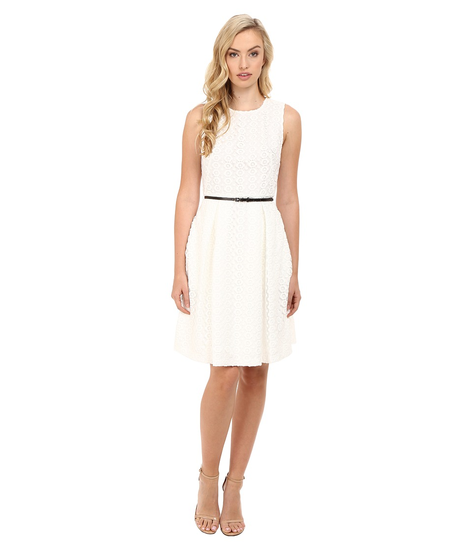 Calvin Klein - Floral Lace Flare Dress (Soft White) Women's Dress