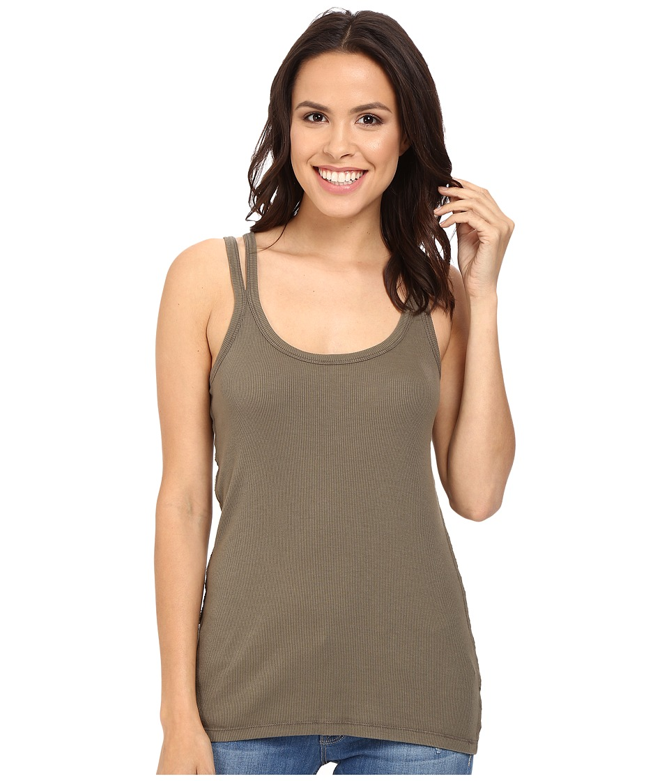 Splendid - 2x1 Split Strap Tank Top (Military Olive) Women's Sleeveless