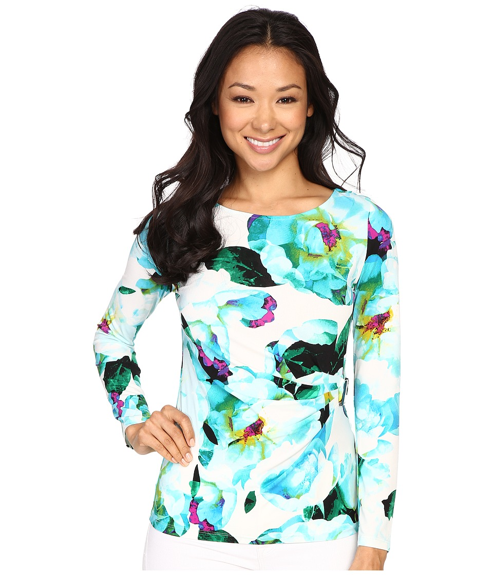 Calvin Klein - Printed 3/4 Sleeve w/ Square Hardware (Cerulean Multi) Women's Clothing