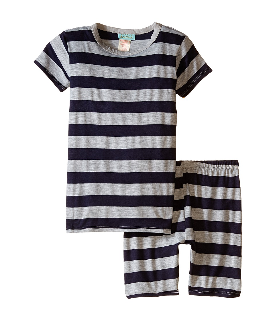 BedHead Kids - Short Sleeve Short Bottom Pajama Set (Toddler/Little Kids) (Navy/Heather Grey Stripe) Boy's Pajama Sets