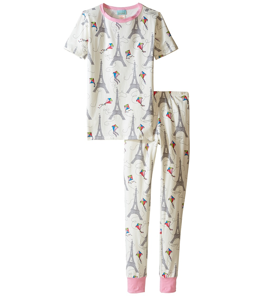 BedHead Kids - Short Sleeve Long Bottom Pajama Set (Big Kids) (Eiffel Kites) Girl's Pajama Sets