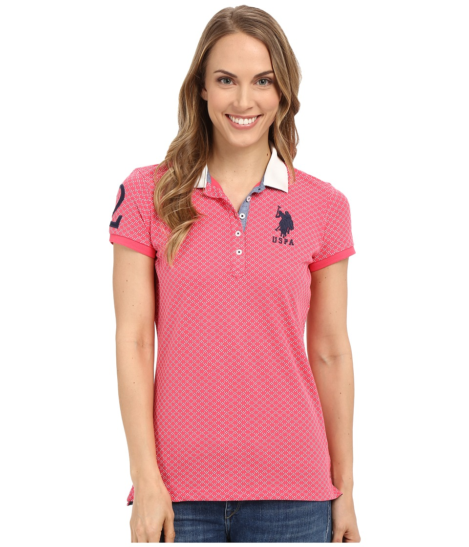 U.S. POLO ASSN. - Short Sleeve Geometric Print Pique Polo Shirt (Rouge Red) Women's Clothing
