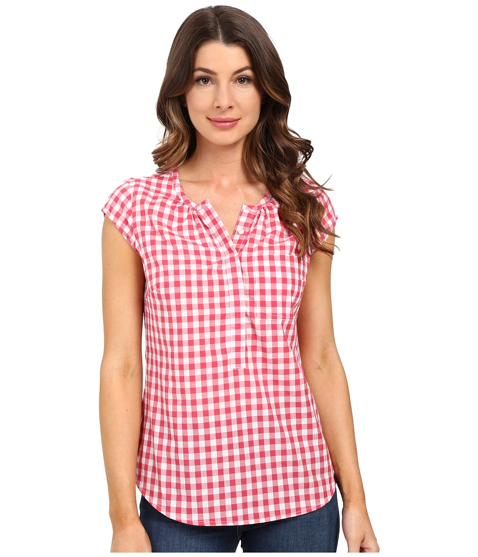 U.S. POLO ASSN. - Cap Sleeve 1/2 Placket Pullover Check Shirt (Rouge Red) Women's Clothing