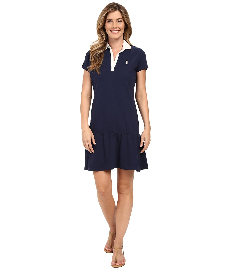 U.S. POLO ASSN. - Drop Waist Zip Close Polo Dress (Dress Blues) Women's Dress