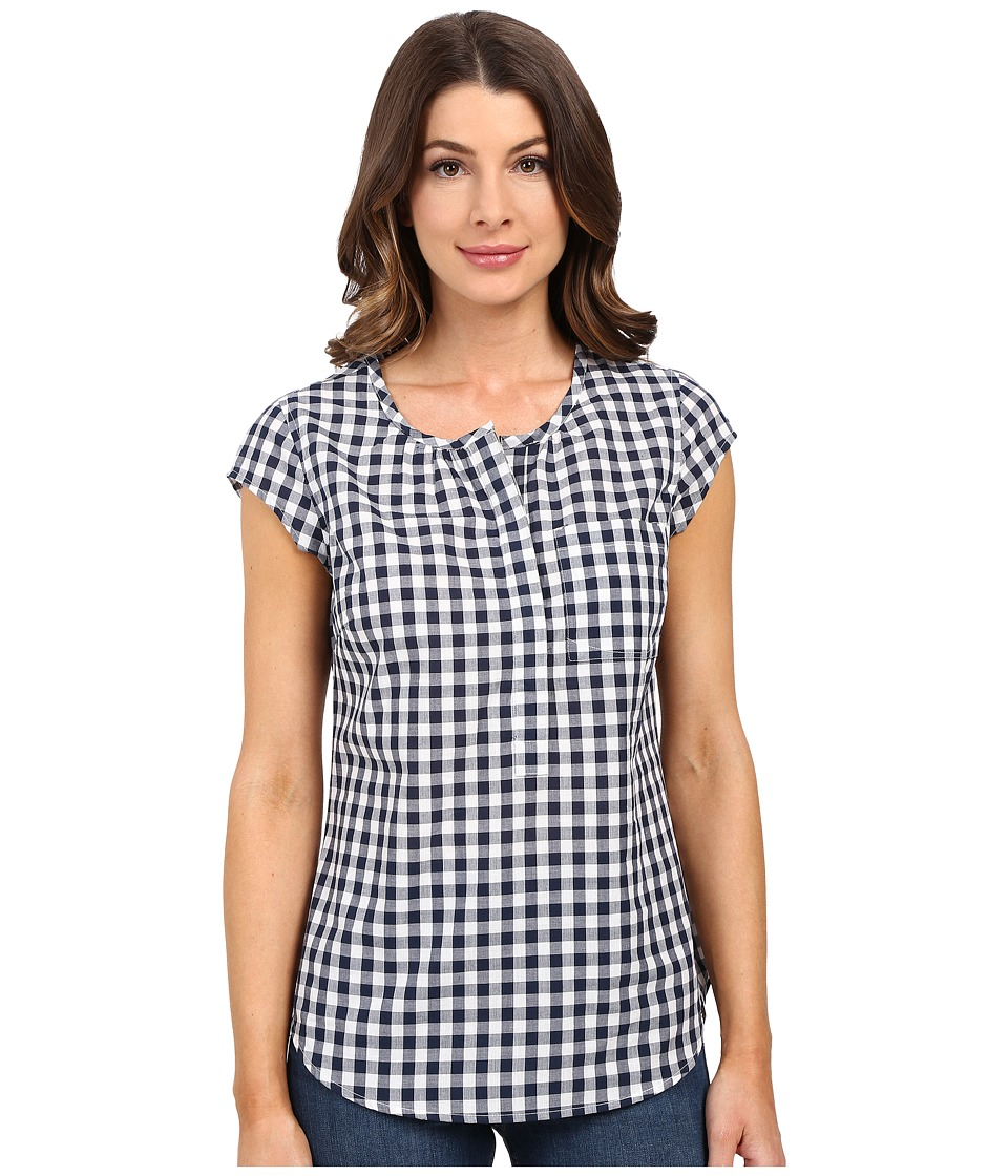 U.S. POLO ASSN. - Cap Sleeve 1/2 Placket Pullover Check Shirt (Dress Blues) Women's Clothing