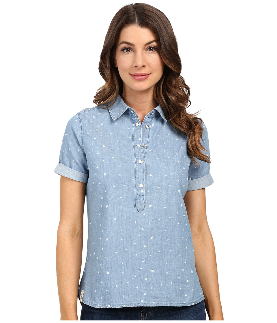 U.S. POLO ASSN. - Denim 1/2 Placket Pullover Shirt (Blue) Women's Clothing