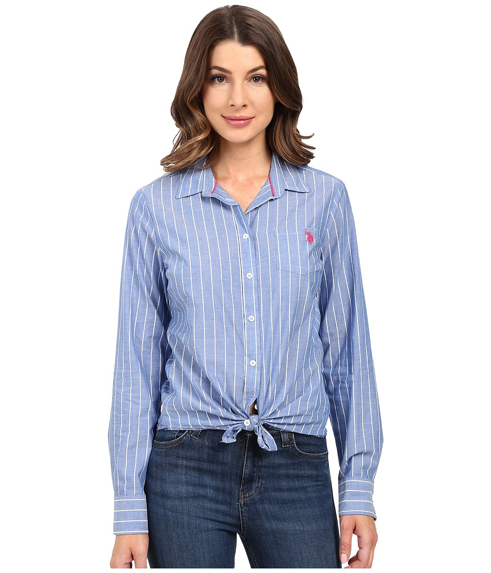 U.S. POLO ASSN. - Pencil Stripe Long Sleeve Woven Shirt (Nautical Blue) Women's Clothing