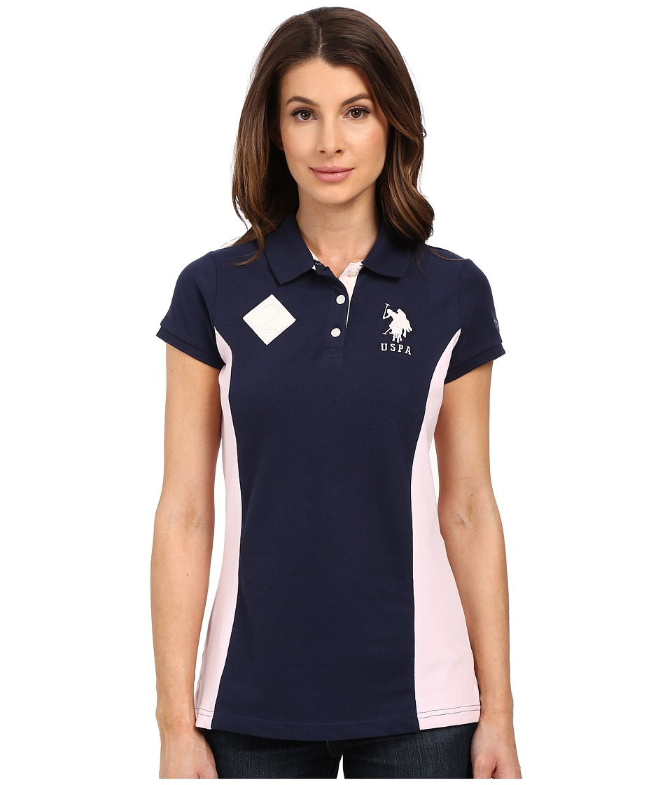 U.S. POLO ASSN. - Short Sleeve Color Block Pique Polo Shirt (Dress Blues) Women's Clothing