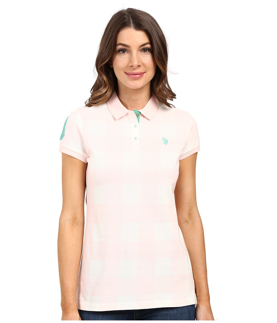 U.S. POLO ASSN. - Short Sleeve Check Pique Polo Shirt (Classic Pink) Women's Clothing