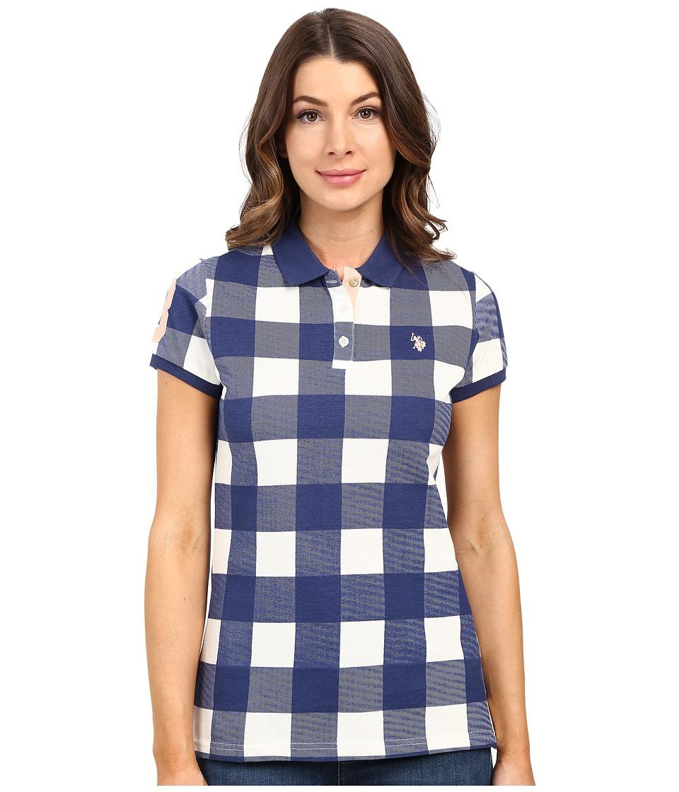 U.S. POLO ASSN. - Short Sleeve Check Pique Polo Shirt (Blue Depths) Women's Clothing