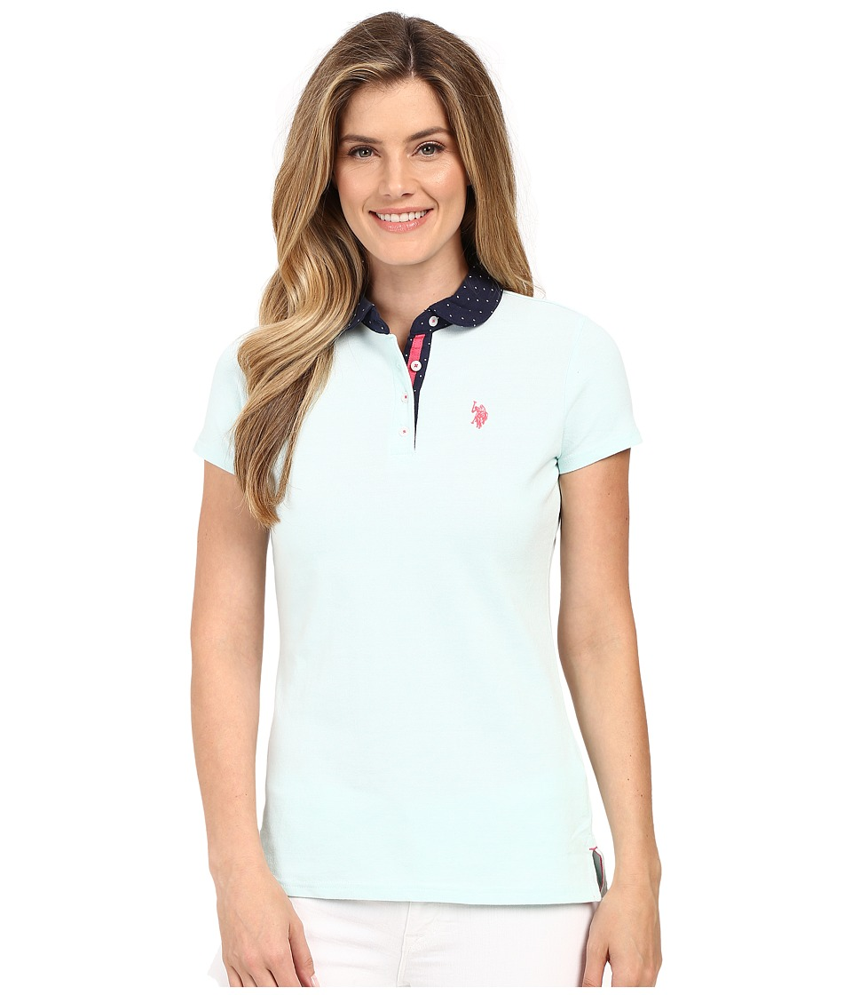 U.S. POLO ASSN. - Short Sleeve Birdseye Pique Polo Shirt (Bleached Aqua) Women's Clothing