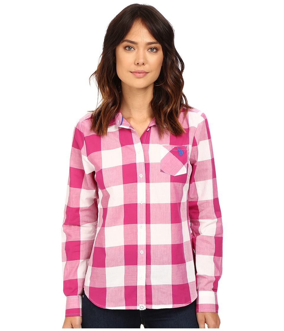 U.S. POLO ASSN. - Gingham Plaid Poplin Shirt (Verry Berry Pink) Women's Clothing