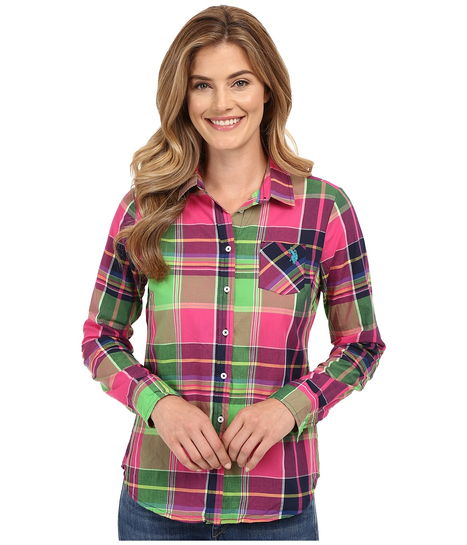 U.S. POLO ASSN. - Sporty Cotton Plaid Shirt (Magenta) Women's Clothing