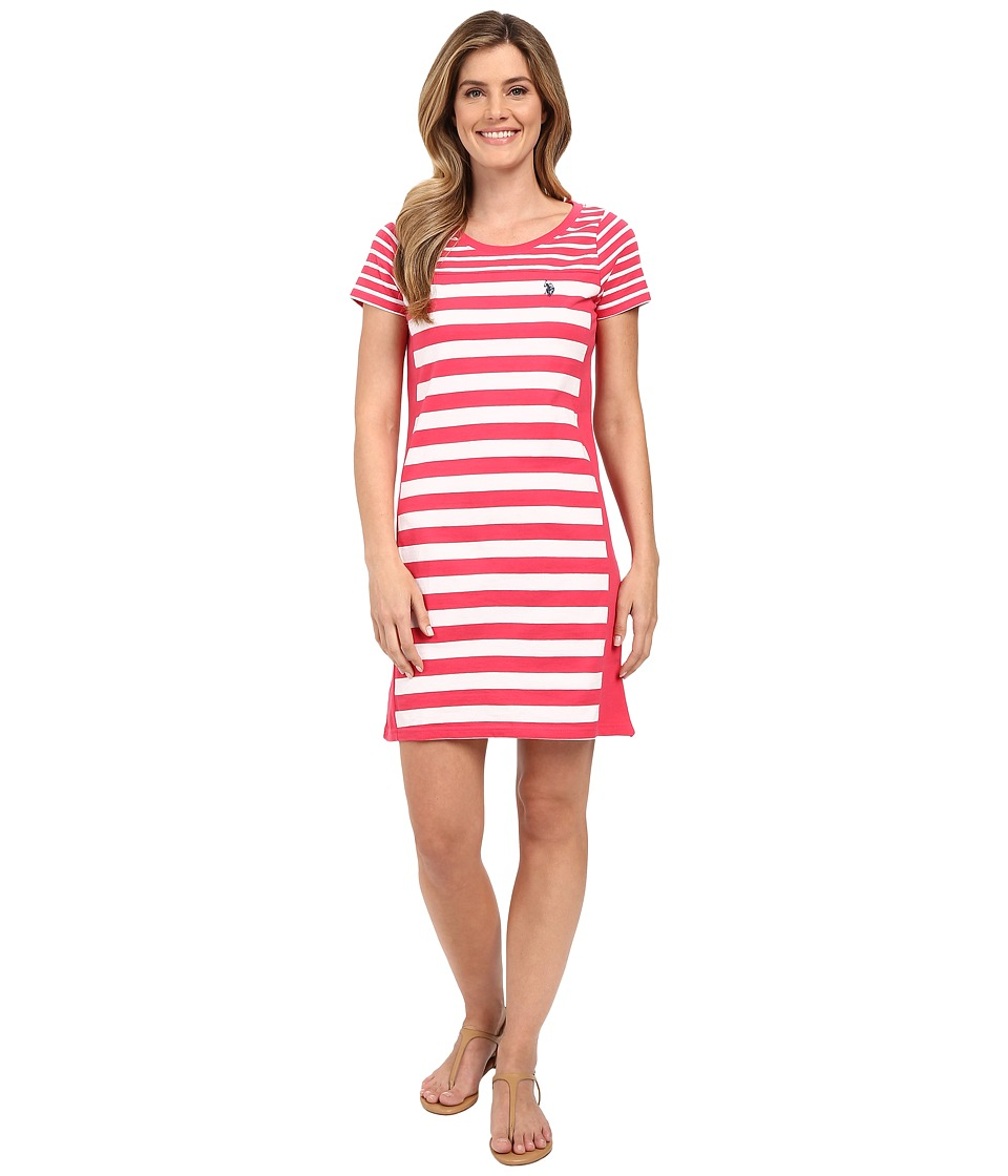 U.S. POLO ASSN. - Solid and Stripes Scoop Neck Short Sleeve Dress (Rouge Red) Women's Dress