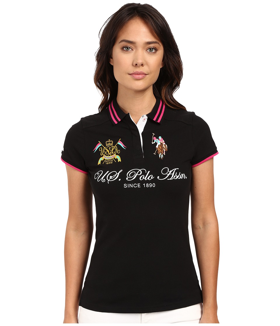 U.S. POLO ASSN. - Embellished Quilted Shoulder Polo Shirt (Black) Women's Short Sleeve Knit
