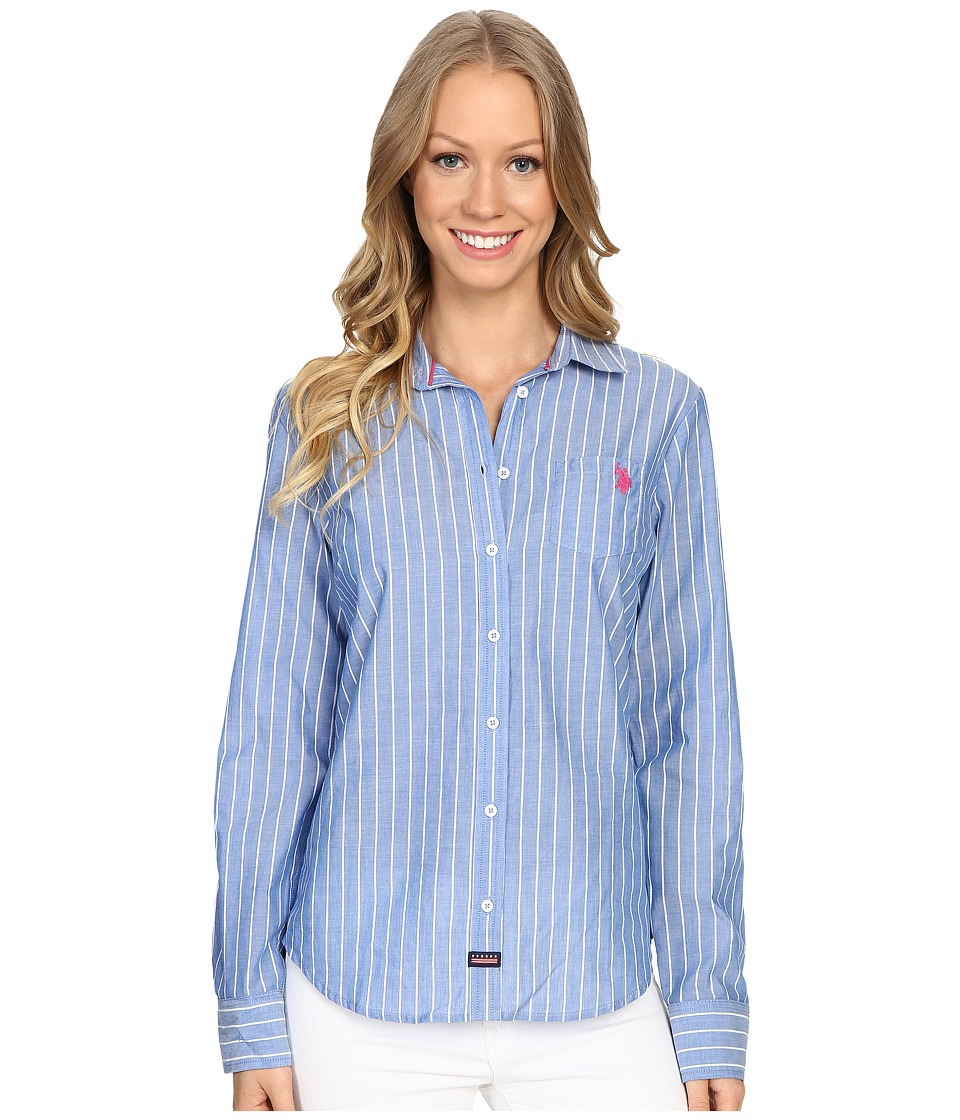 U.S. POLO ASSN. - Vertical Striped Cotton Poplin Shirt (Princess Blue) Women's Clothing