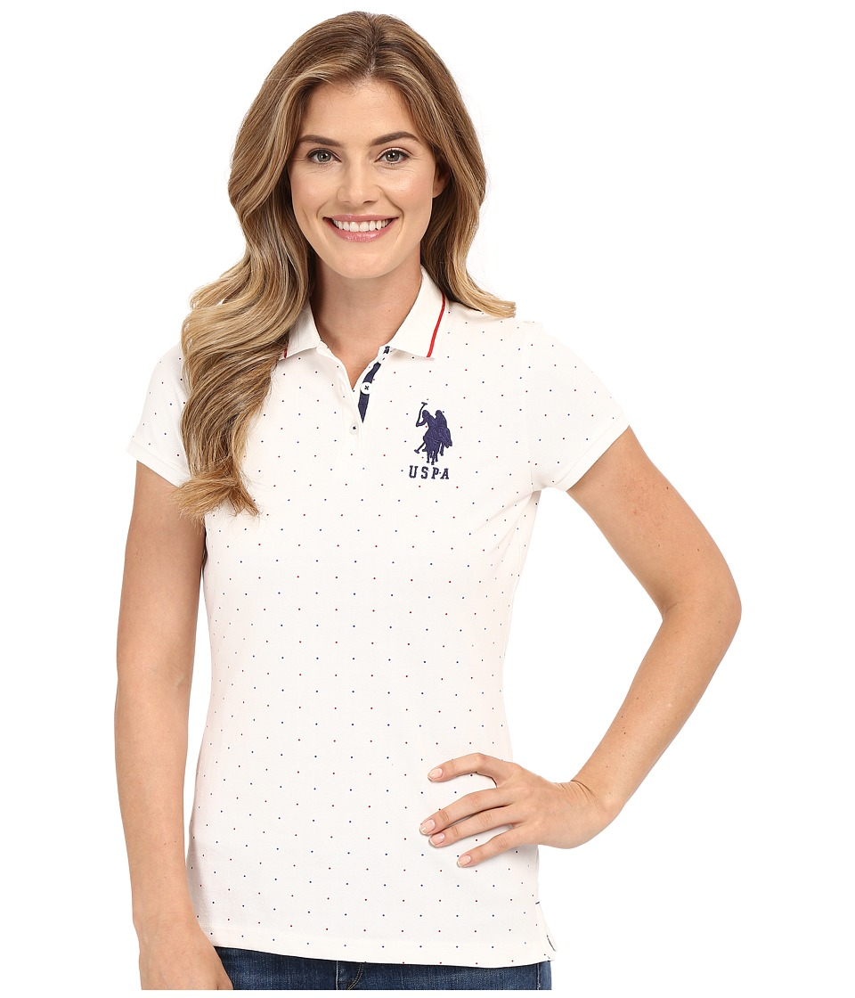 U.S. POLO ASSN. - Dot Print Pique Polo Shirt (Snow White) Women's Clothing