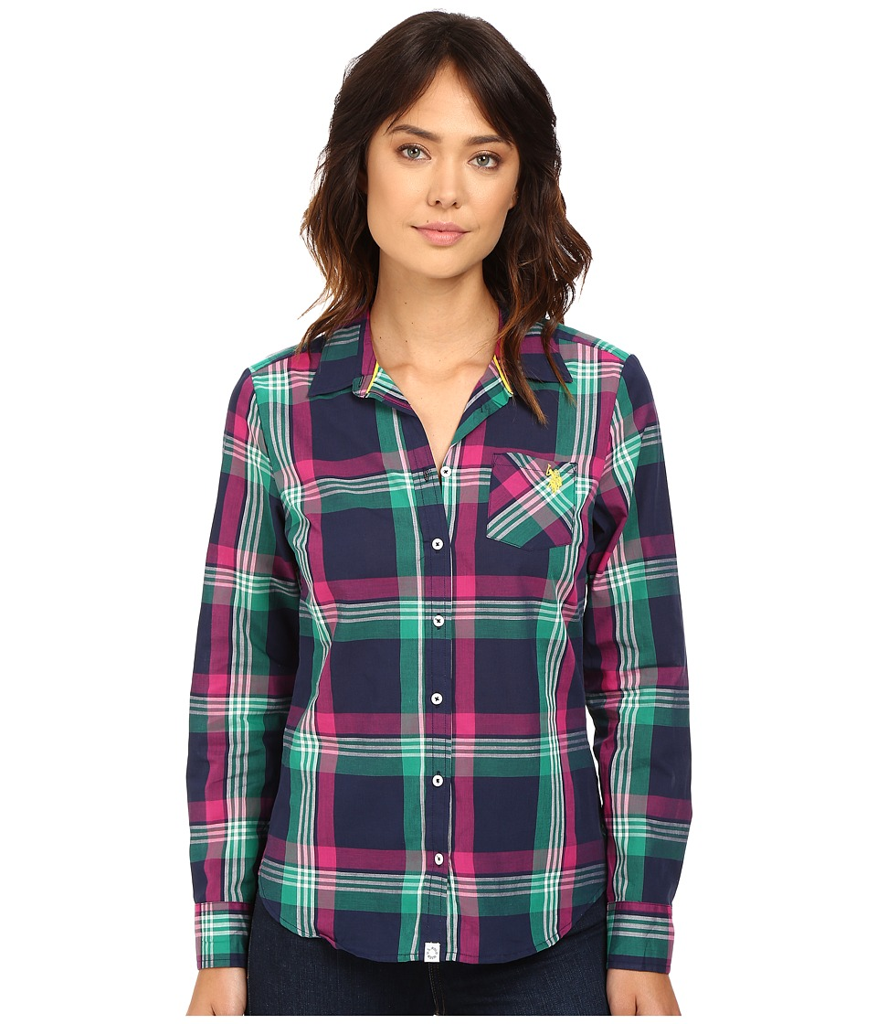 U.S. POLO ASSN. - Sporty Cotton Poplin Plaid Shirt (Tribal Navy) Women's Clothing