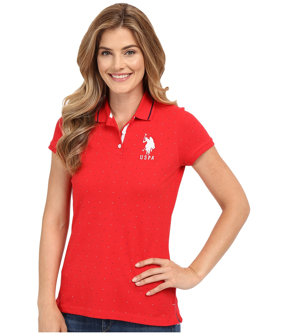 U.S. POLO ASSN. - Dot Print Pique Polo Shirt (Tomato) Women's Clothing