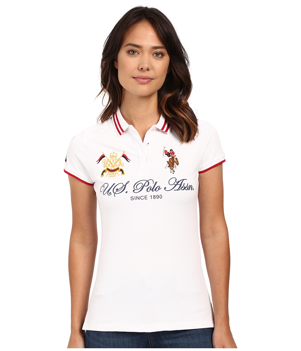U.S. POLO ASSN. - Embellished Quilted Shoulder Polo Shirt (Optic White) Women's Short Sleeve Knit