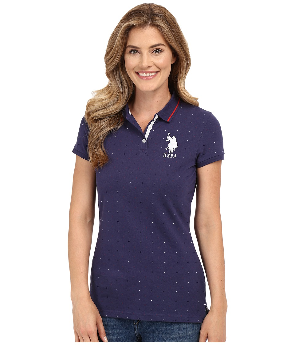 U.S. POLO ASSN. - Dot Print Pique Polo Shirt (Patriot Blue) Women's Clothing
