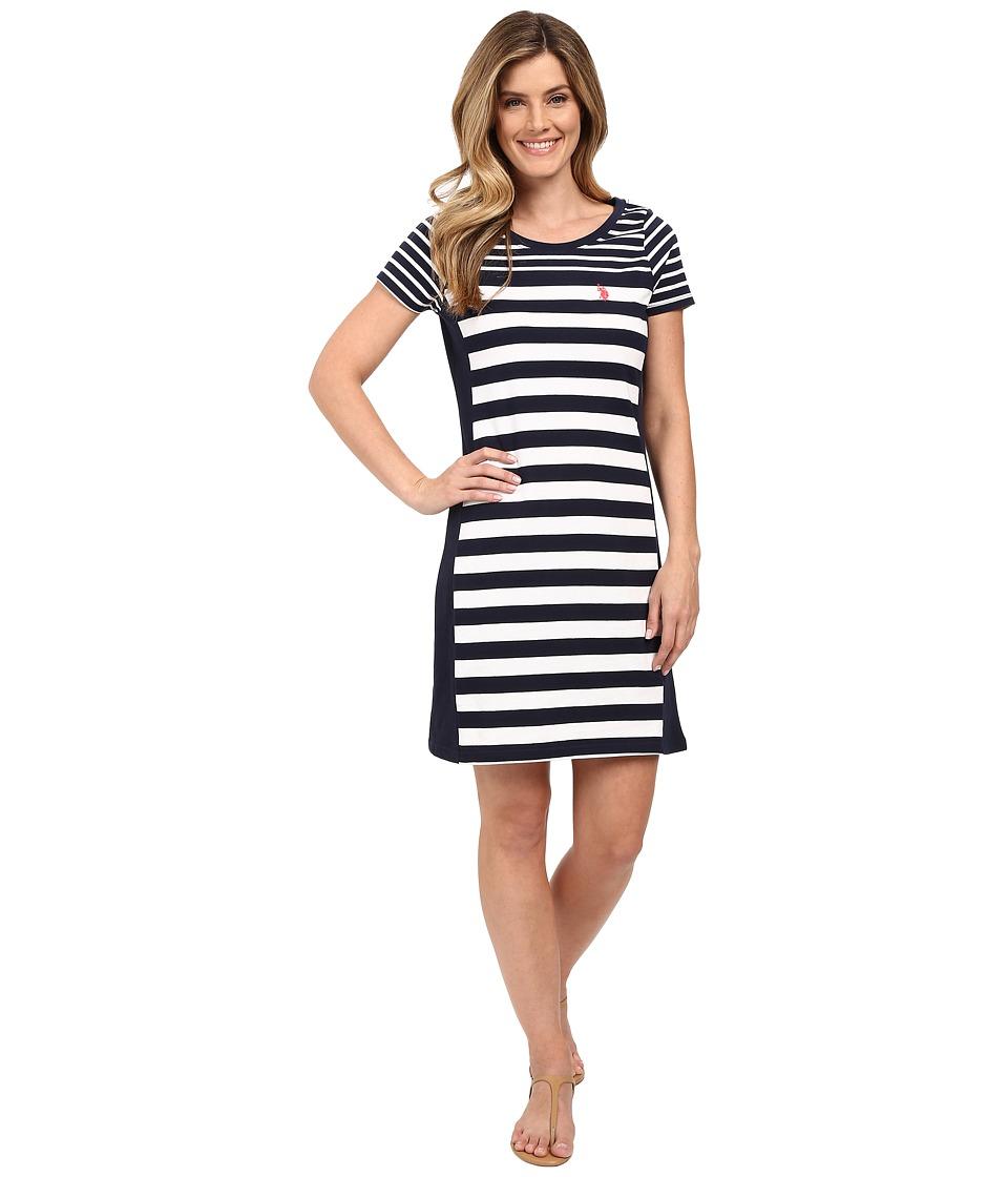 U.S. POLO ASSN. - Solid and Stripes Scoop Neck Short Sleeve Dress (Dress Blues) Women's Dress