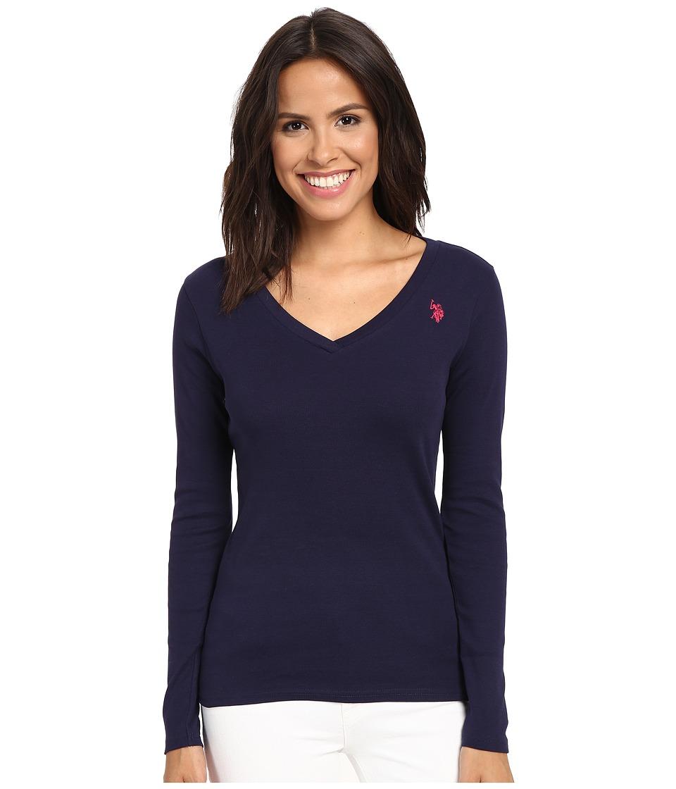 U.S. POLO ASSN. - Rib V-Neck T-Shirt (Evening Blue) Women's T Shirt