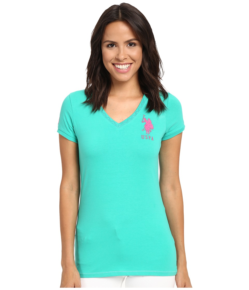 U.S. POLO ASSN. - Lace V-Neck T-Shirt (Peacock Green) Women's Short Sleeve Pullover